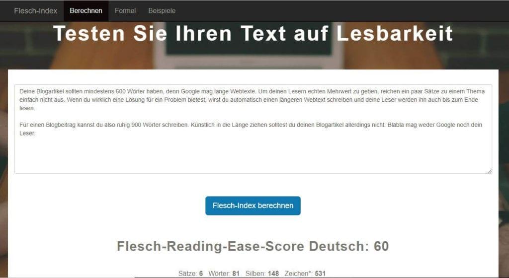 SEO-Texte schreiben - Lesbarkeit mit Flesch-Index überprüfen