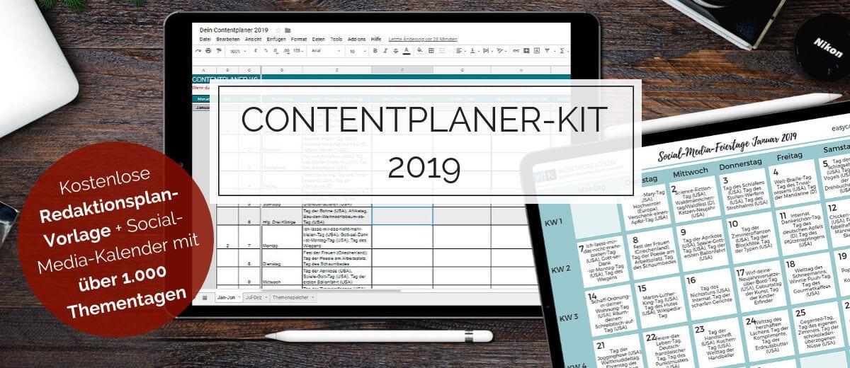 Contentplaner-Kit mit Redaktionsplan-Vorlage und Social-Media-Kalender