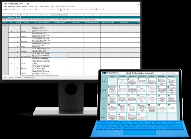 Das Contentplaner-Kit mit Redaktionsplan-Vorlage und Social-Media-Kalender