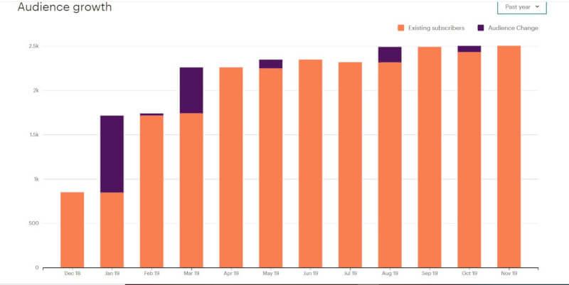 Wachstum der E-Mail-Abonnenten innerhalb eines Jahres